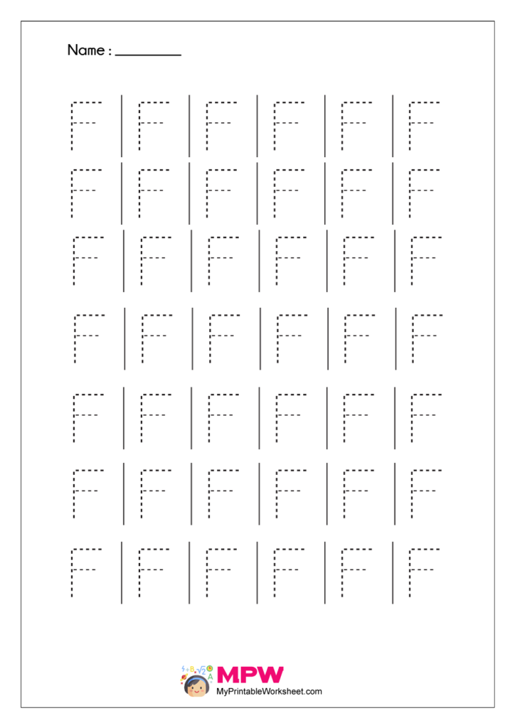 Printable Alphabet Tracing Worksheet F