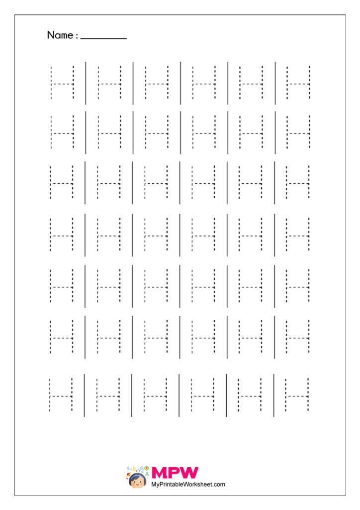 Printable Capital Letter Tracing Worksheet H