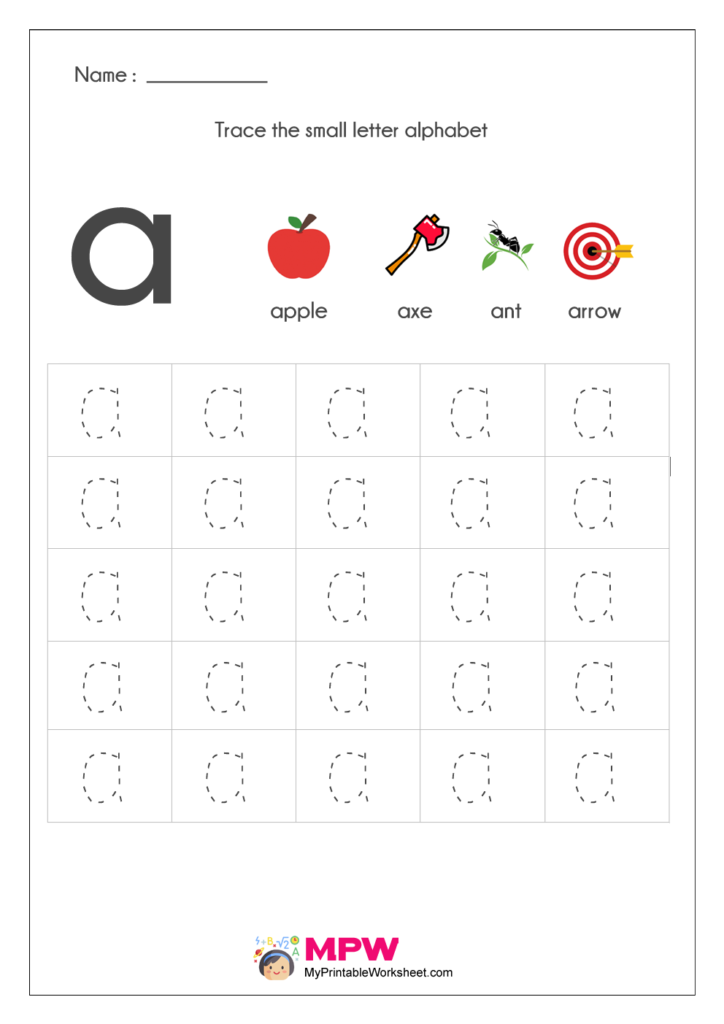 Small Letter Alphabets a Tracing Worksheets
