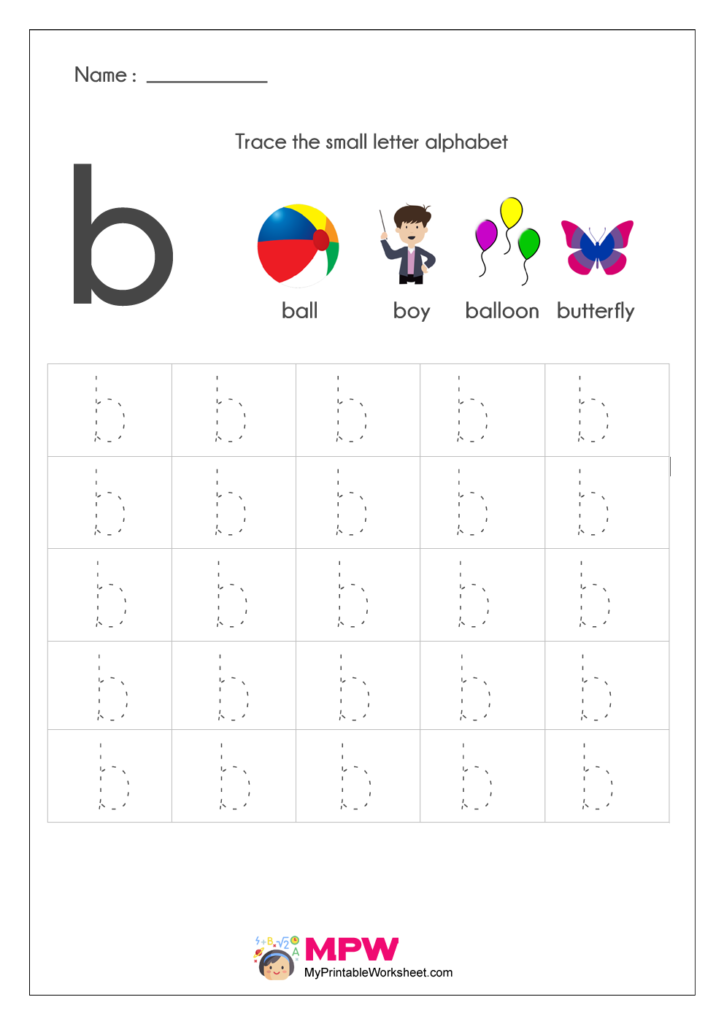 Small Letter Alphabets b Tracing Worksheets