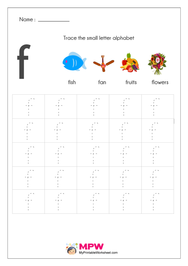 Small Letter Alphabets f Tracing Worksheets