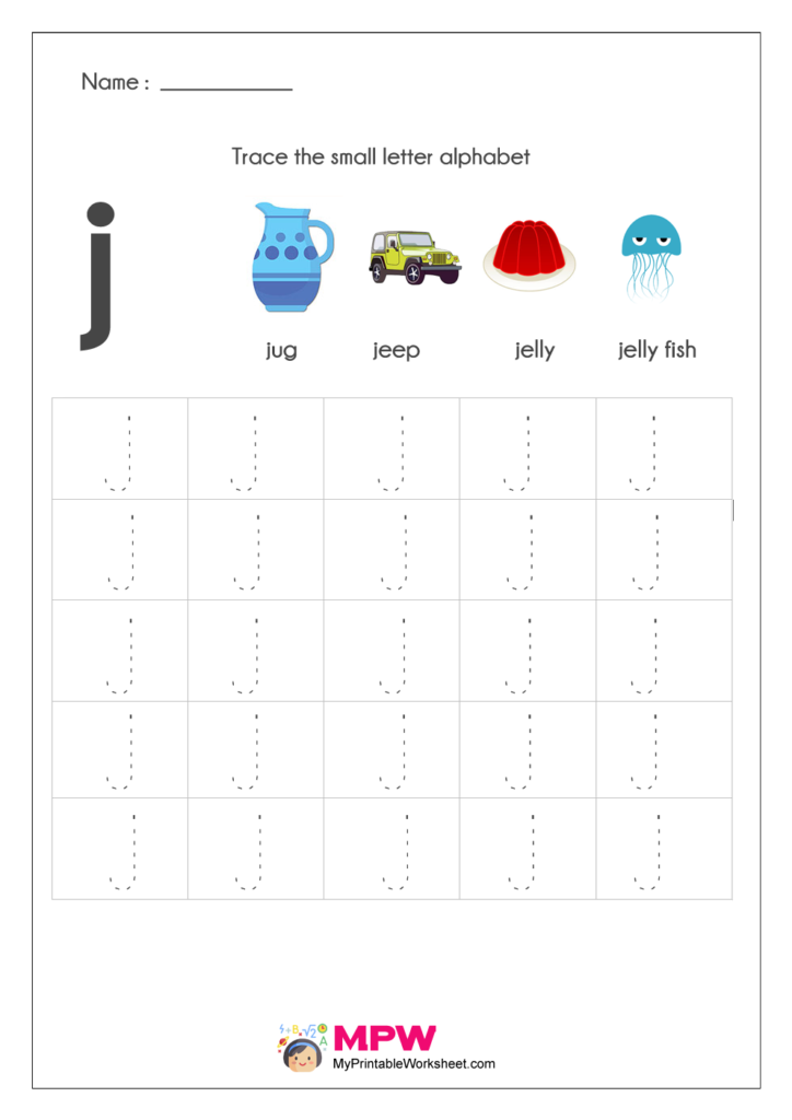 Small Letter Alphabets j Tracing Worksheets