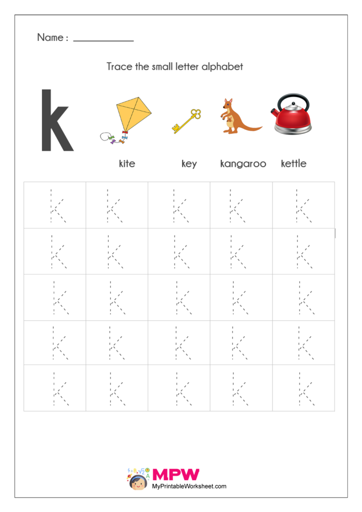 Small Letter Alphabets k Tracing Worksheets
