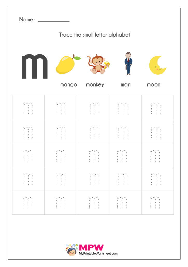 Small Letter Alphabets m Tracing Worksheets