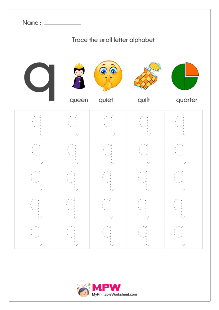 Small Letter Alphabets q Tracing Worksheets