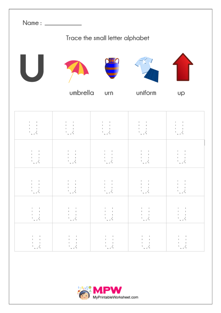 Small Letter Alphabets u Tracing Worksheets
