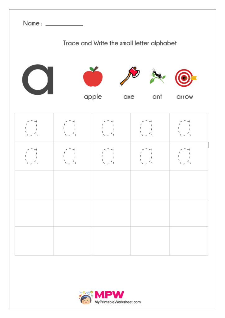 Small Letter Alphabets a Writing Worksheets