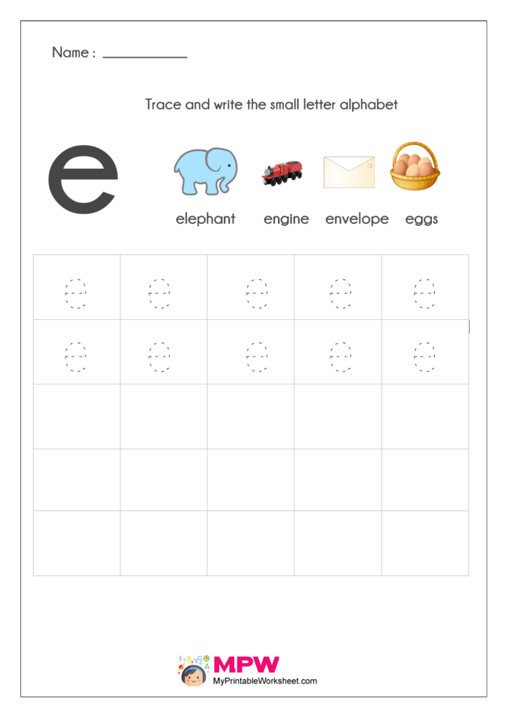 Small Letter Alphabets e Writing Worksheets