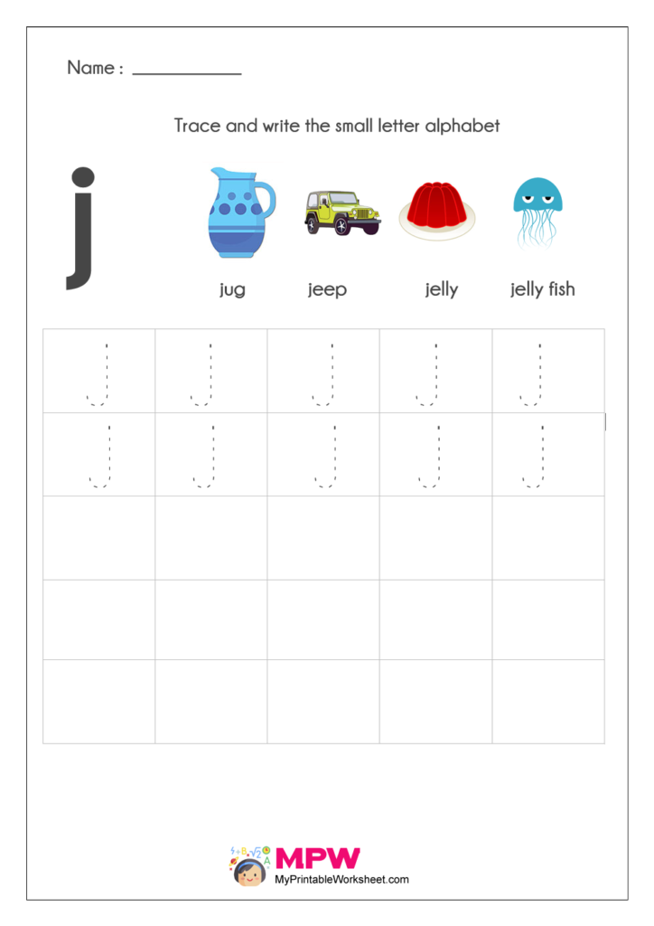 Small Letter Alphabets j Writing Worksheets