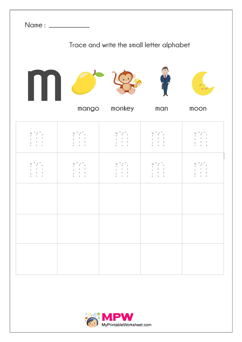 small letter alphabet writing worksheet