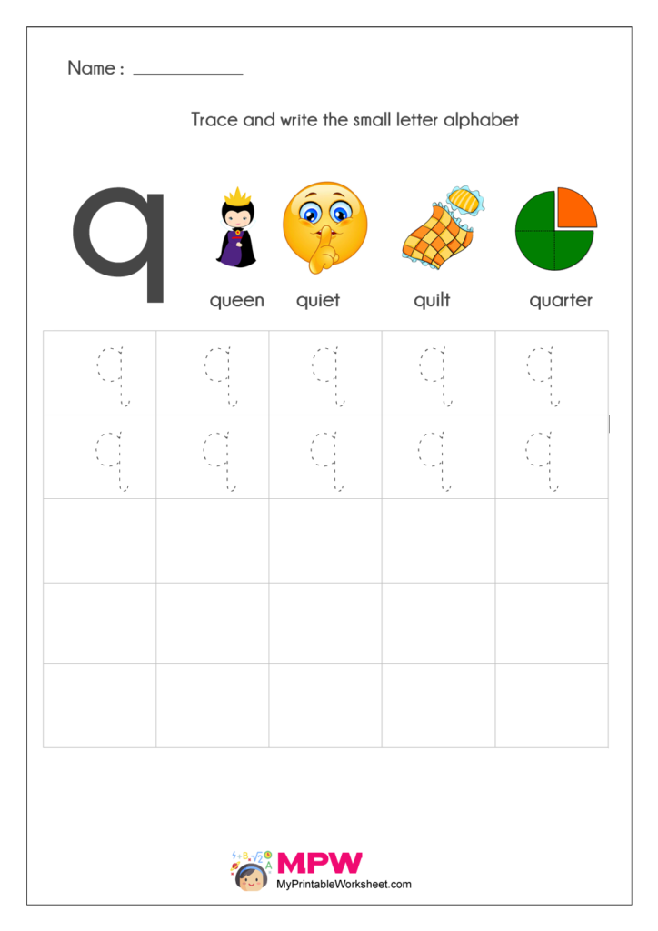 Small Letter Alphabets q Writing Worksheets