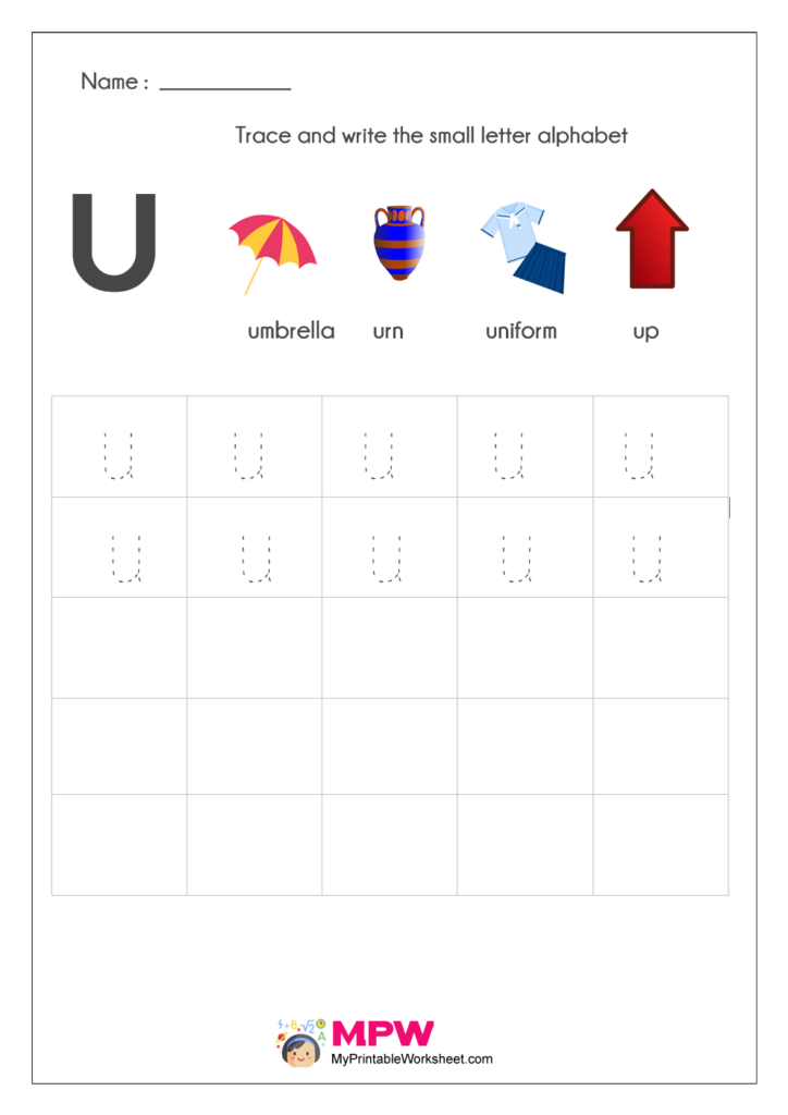 Small Letter Alphabets u Writing Worksheets