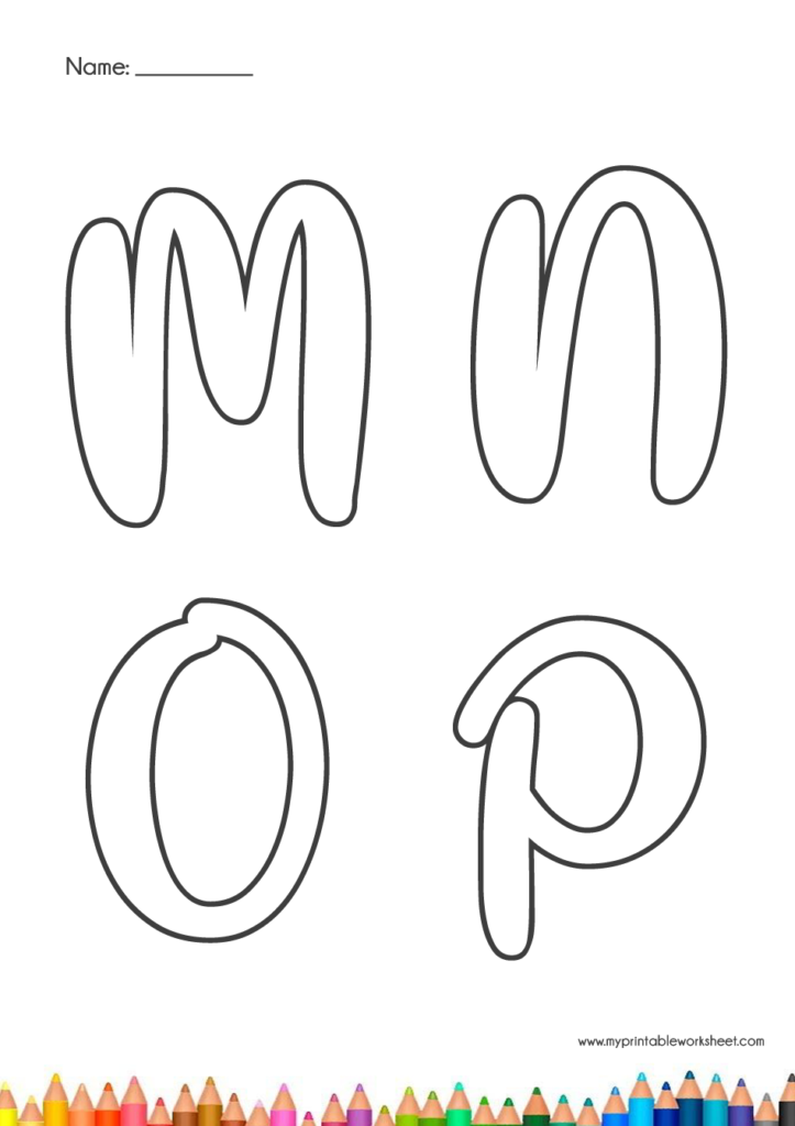 alphabet colouring pages for kindergarten