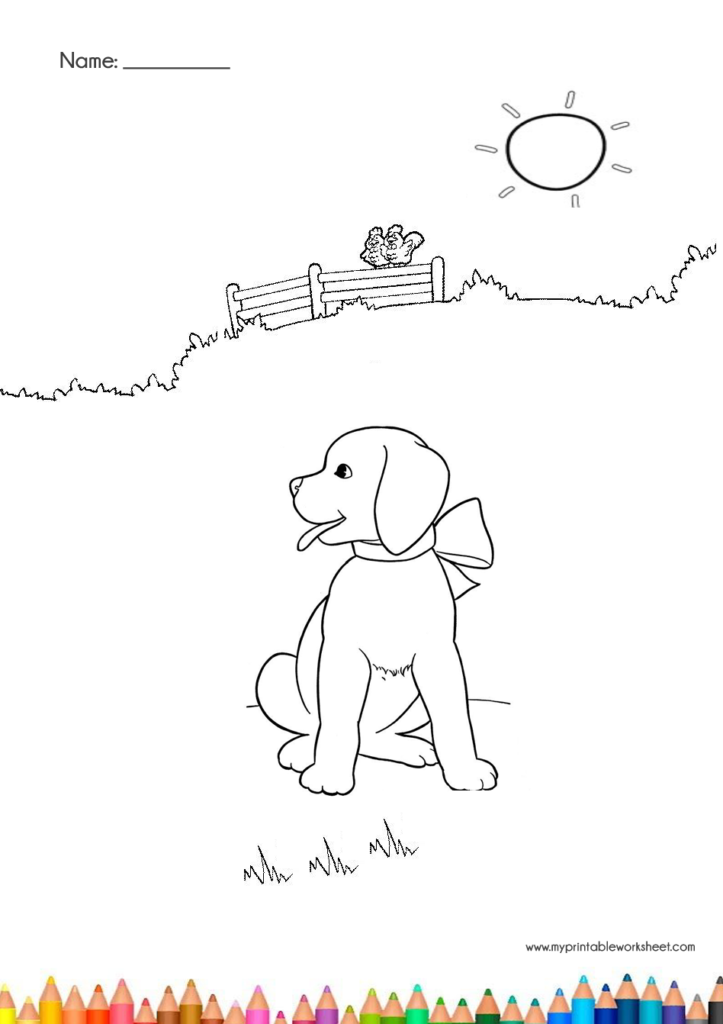 cute dog coloring pages with sun