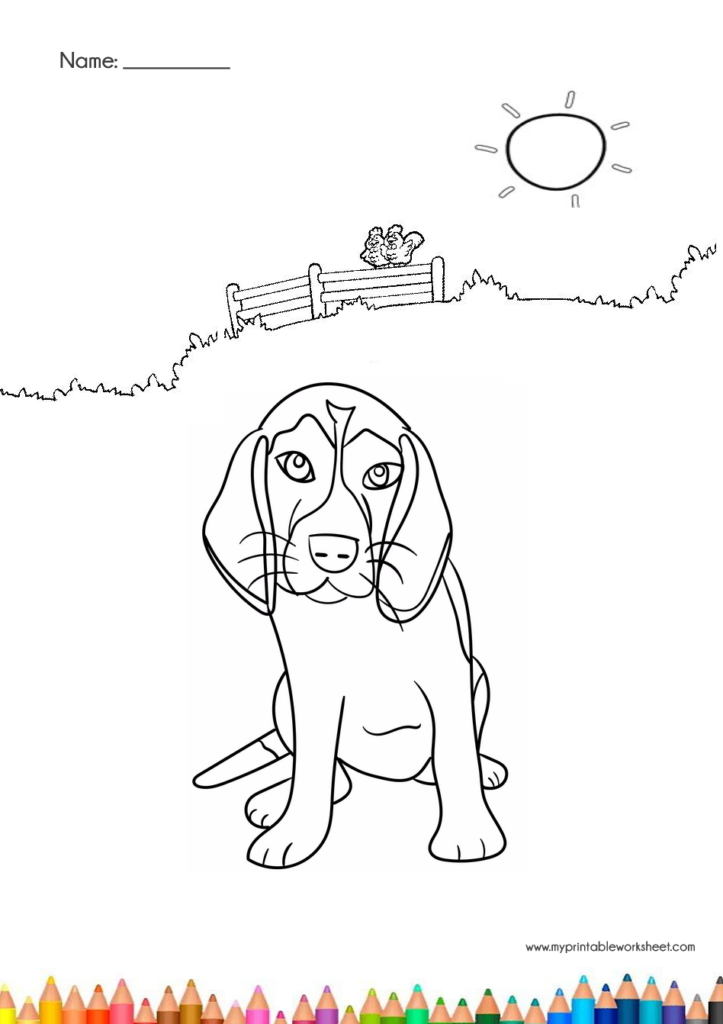 cute dog coloring pages with park