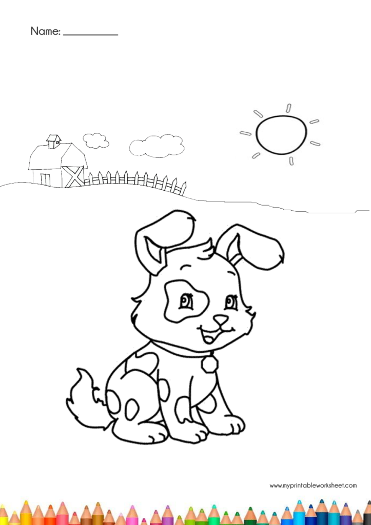 cute dog coloring pages with house