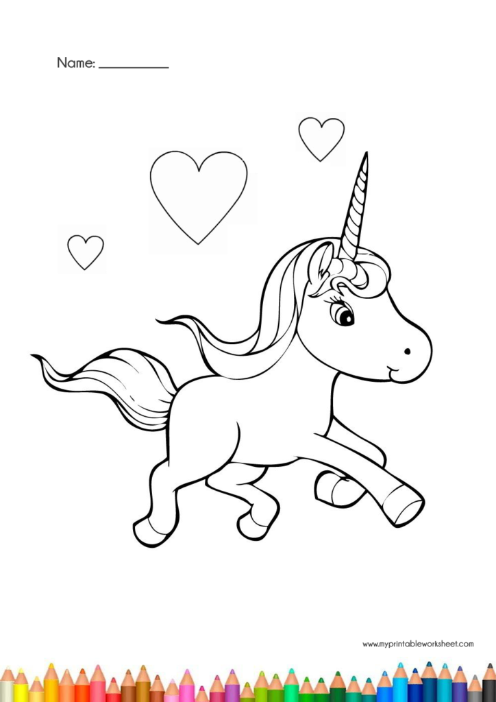 unicorn coloring pages worksheet