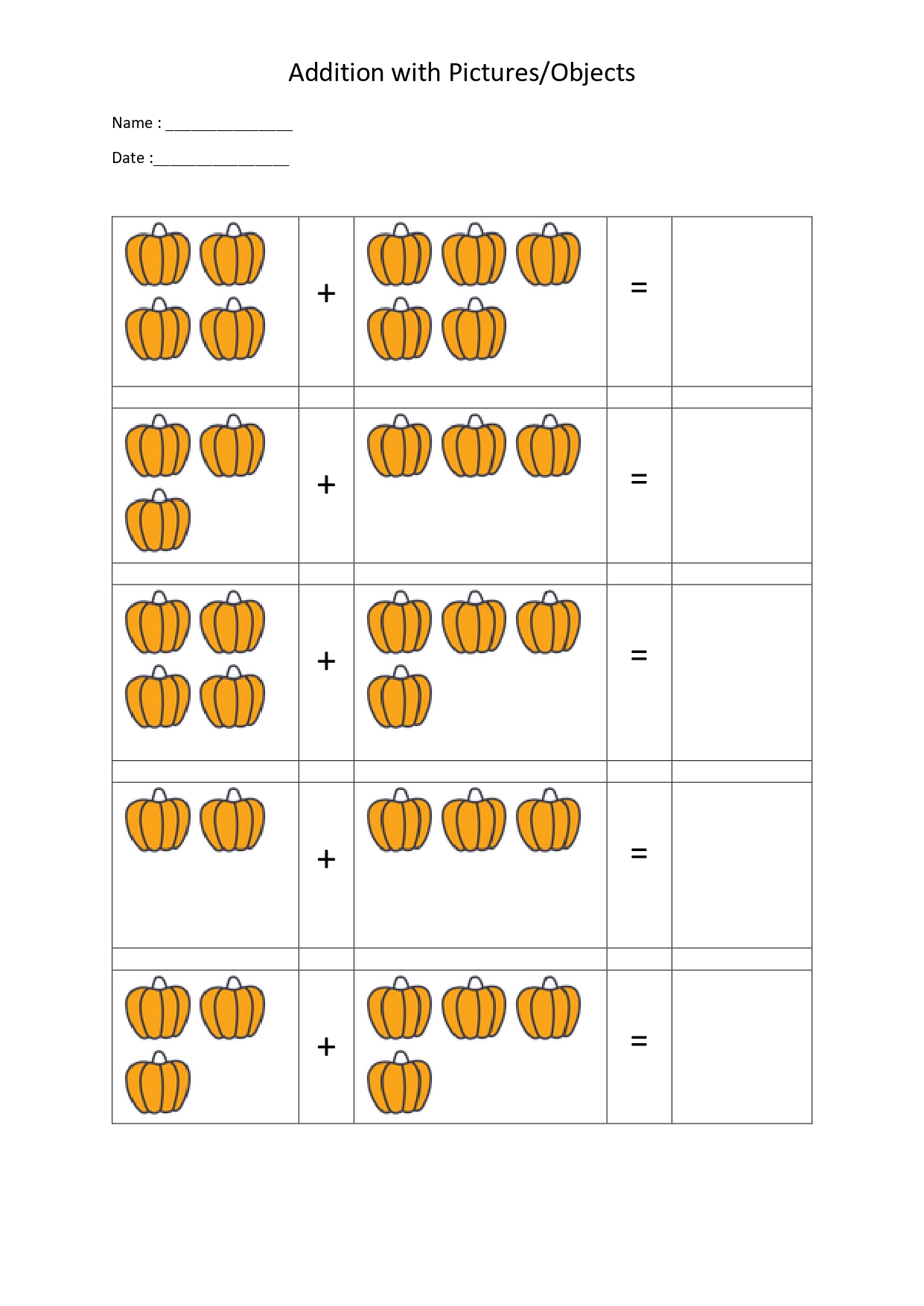 Free Addition Worksheets For Kindergarten With Pictures