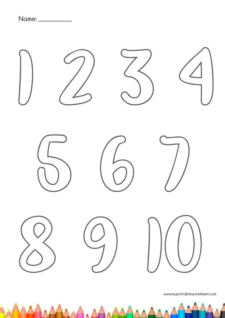 Number Coloring Printable Worksheets 1-10