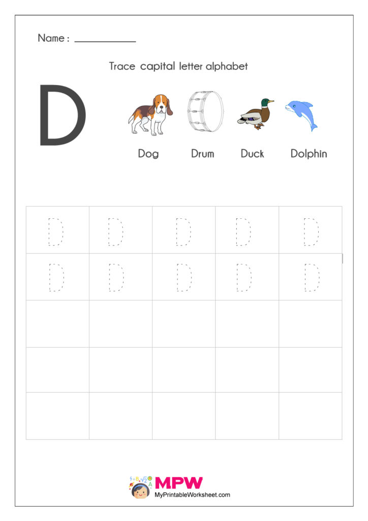 Alphabet D Writing Worksheets