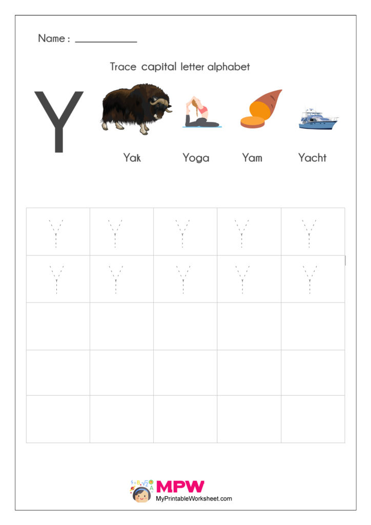 Alphabet Y Writing Worksheets