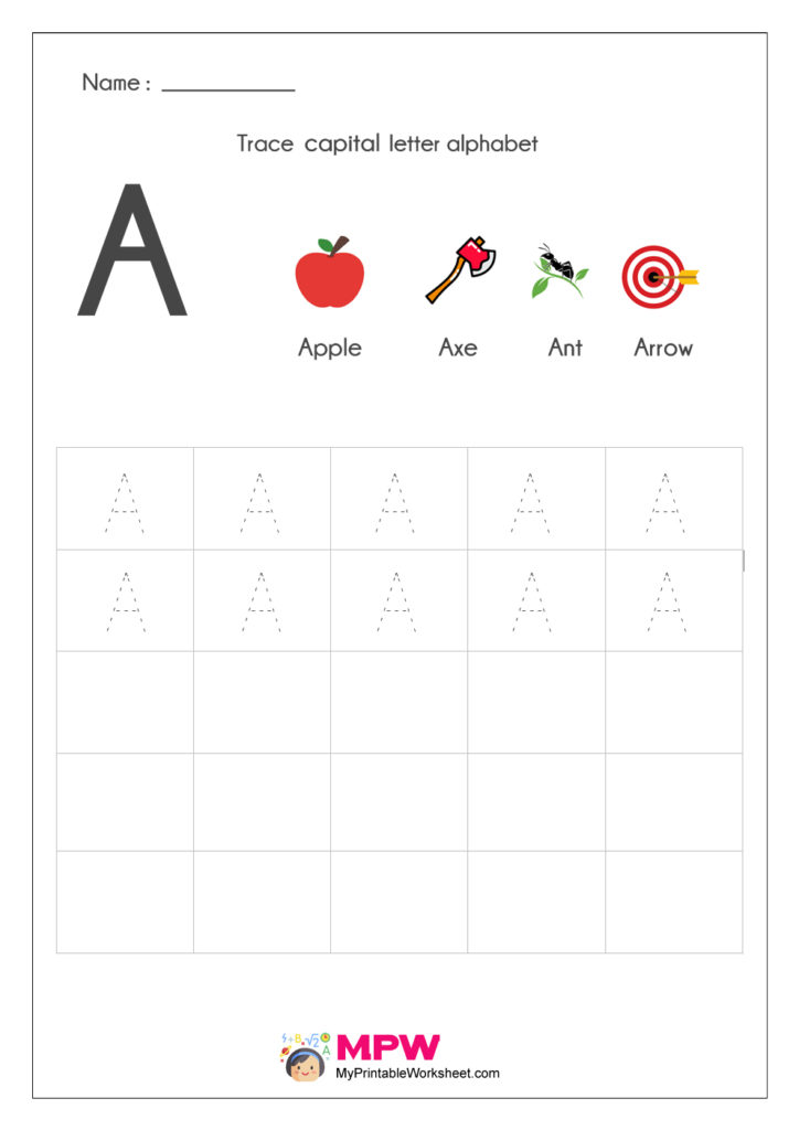 Alphabet A Writing Worksheets